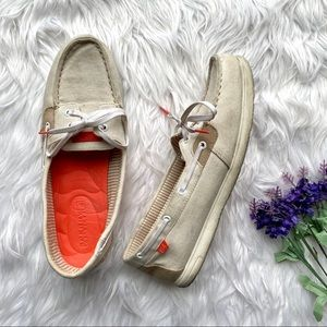 Sperry Top Sider Boat Shoes Tie Cream Orange 11